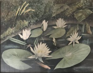 Het originele schilderij De Waterlelies, geschonken door mevrouw Vos met op de achterzijde de handtekening van Ooms.